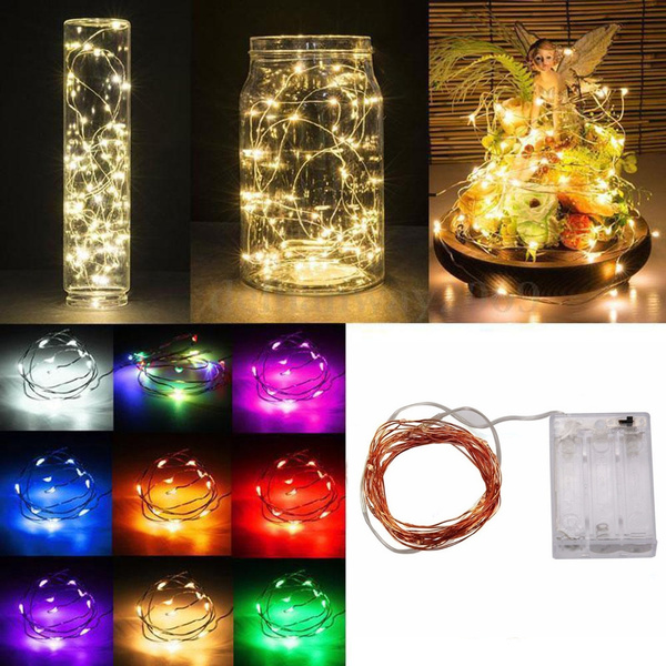 2M 20 LED Battery Operated Copper Wire LED Fairy Lights Christmas Xmas Wedding