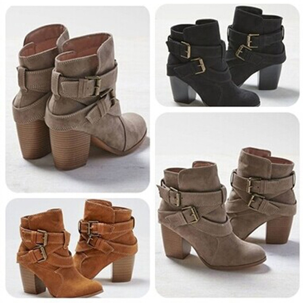 Picture of New Women Fashion Brand Sexy Cross Bandage Boots Lady Girls Spring And Autumn Casual High Heel Boots Shoes