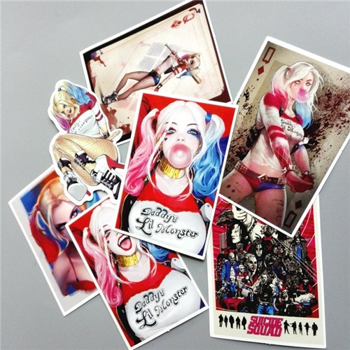 7Pcs/Lot Suicide Squad Harley Quinn Sticker for Car Macbook Laptop Luggage Cases Skateboard Decal Decoration Gifts (Color: Multicolor)