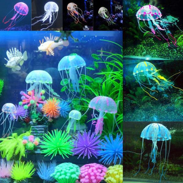 Novelty Small Size Aquarium Decor Glowing Effect Jellyfish Ornament Aquarium Landscaping Fish Tank Decoration Artificial Jellyfish Glowing Medusa