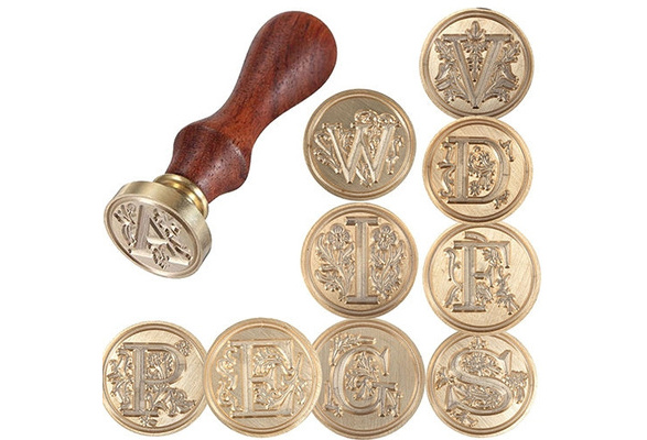 1 Pc Classic 26 Letter A-Z Alphabet Initial Flower Wedding Seal Wax Stamp Post Brass Copper Head