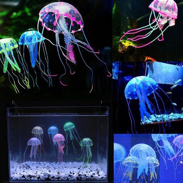 Fashion Style Silicone Aquarium Decor Jellyfish Ornament Aquarium Landscaping Glowing Effect Glowing Medusa Fish Tank Decoration Vivid Jellyfish