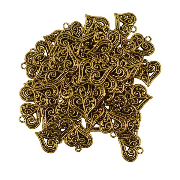 50x Antique Gold Beads Filigree Hollow