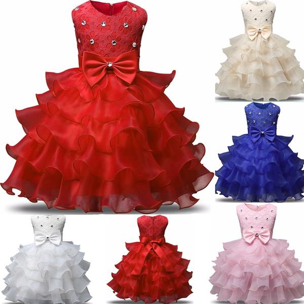 55370015419 Newborn Baby Girl Sleeveless Bowknot Dress Kids Girls Ruffle ...