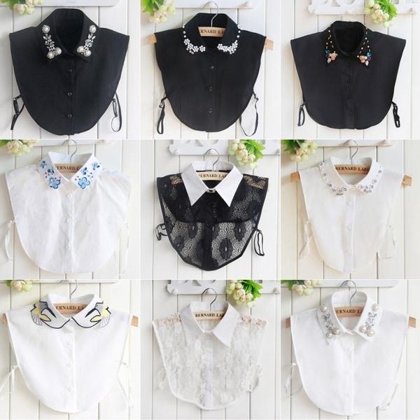 Lace Detachable Lapel Shirt Fake False Collar Necklace Women Removable Choker #