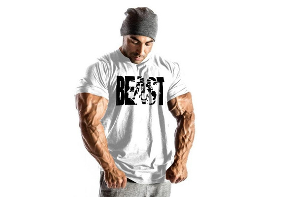Men's T-Shirts Cotton Short Sleeve Bodybuilding Tops Workout Fitness
