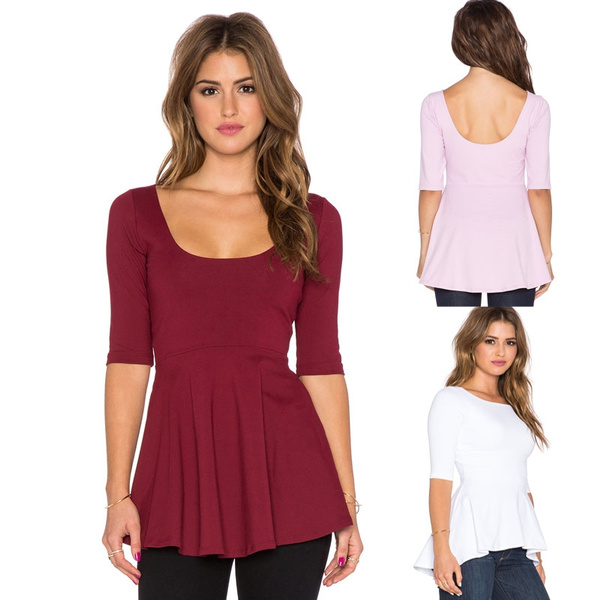 Picture of Fashion Sexy Women Casual Slim Fit Bottoming Backless Blouse T-shirt Tops
