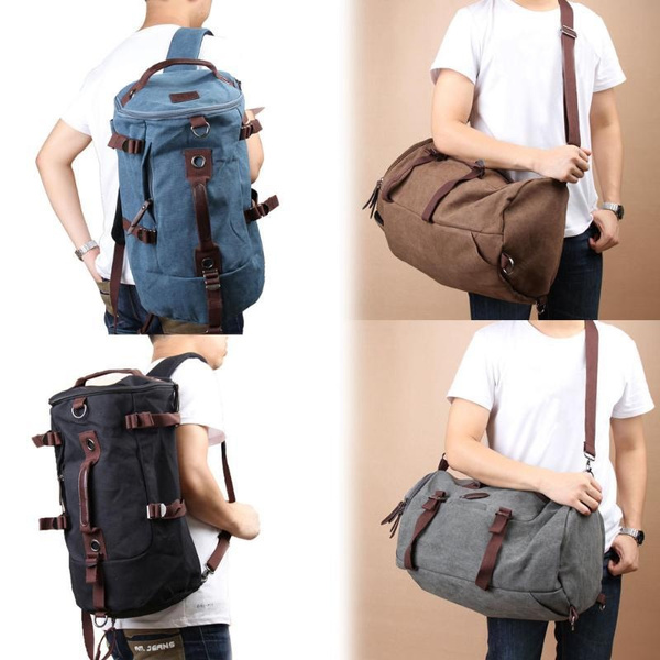 fe8d62221590 Men and Women's Vintage Canvas Duffel Backpack Military Rucksack ...