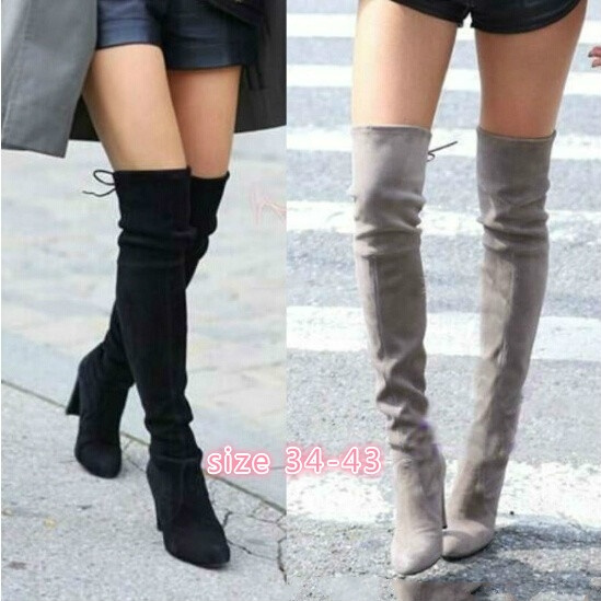 Womens Over The Knee High Heel Ladies Tall Thigh High Stretch Leg Boots Sizes