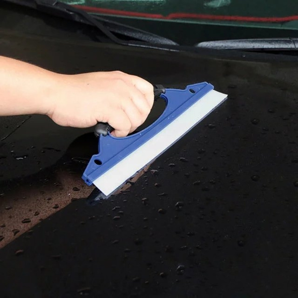 Cleaner Silicone Car Window Wash Cleaning Brush Wiper Squeegee Drying Blade Blue