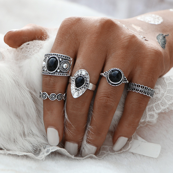 Picture of 5 Pcs /Sets Vintage Ring Antique Alloy Nature Stone Midi Finger Rings
