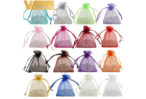50pcs 7cmx9cm Sheer Organza Bags Drawable Jewelry Pouch Gift Packaging Bag Candy Bag for Wedding Party Favors Xmas Decorations