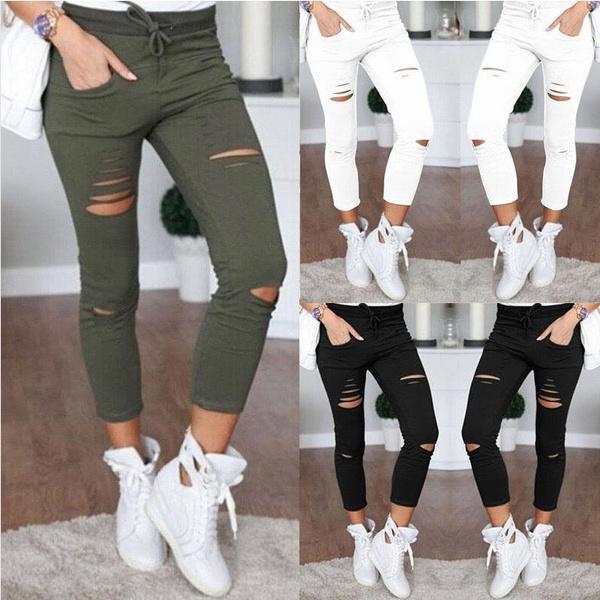 distressedlegging, trousers, women's fashion leggings, skinny pants
