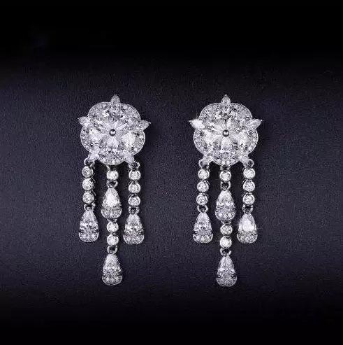 outlet online nuova versione acquista autentico Wish | Flower Tassel Design Drop Earrings Fashion White Gold Plated  Zirconia Women Dangle Earings Gifts Orecchini Donna