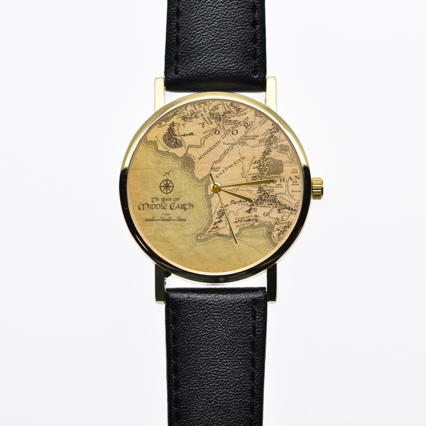 Wish middle earth map watch lord of the ringsvintage style wish middle earth map watch lord of the ringsvintage style leather watch women watches boyfriend watch world map mens watch gumiabroncs Image collections