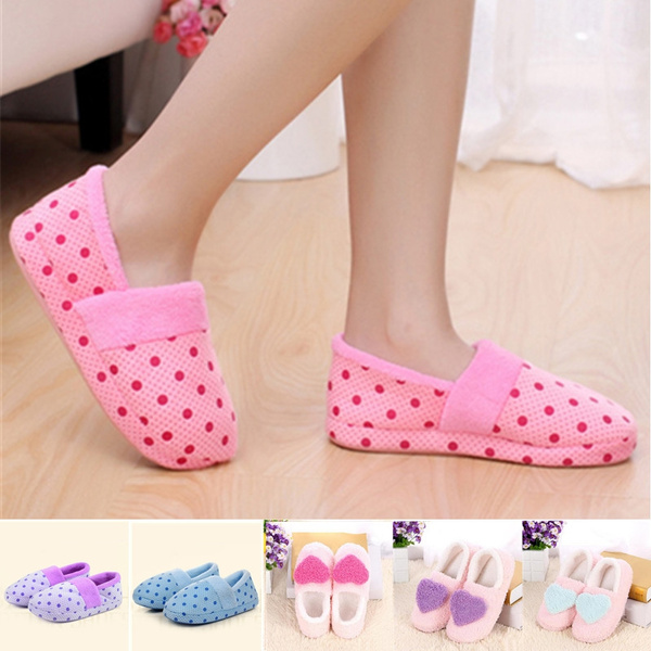 Picture of Stylish Unisex Winter Warm Anti Skid Slippers Women Men Couple Polka Dot Indoor Home Shoes