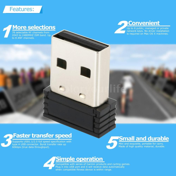 ANT+ Receiver ANT+ USB Stick Adapter for Garmin Forerunner 310XT 405 410  610 910XT Compatible With CycleOps Virtual Trainer Sunnto Watch Zwift