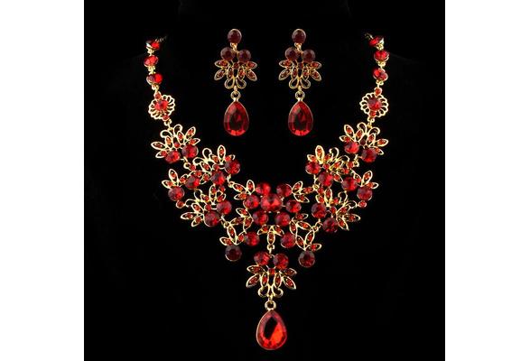 New Fashion Charm Prom Wedding Bridal Jewelry Crystal Rhinestone Necklace Earring Set Gift