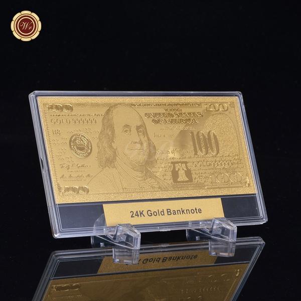 WR 24k Gold $100 Dollar Bill US Banknote Standard Size Collector /w Money  Holder