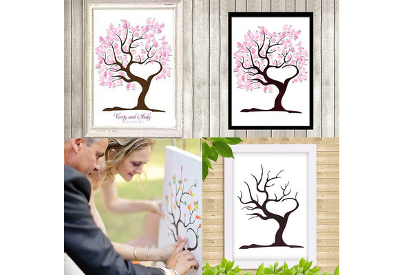 Large Personalised Wedding Fingerprint / Thumbprint Tree- Alternative Guest Book 1725 Fancy