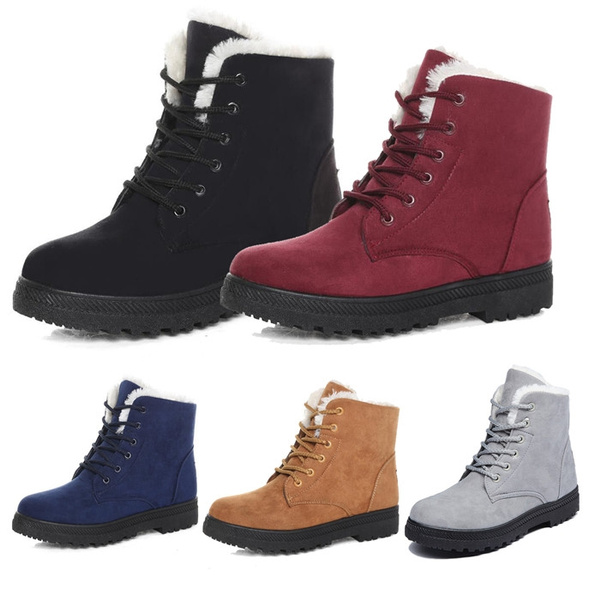 Picture of Stylish Women Lace Up Snow Boots Fashion Winter Padded Thicken Ankle Boots Ladies Flat Biker Boots