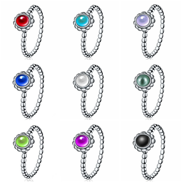 Picture of 12 Color 925 Sterling Silver Natural Gmestone Brith Stone Ring Wedding Engagement Jewelry
