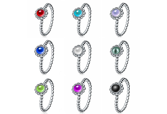 12 Color 925 Sterling Silver Natural Gmestone Brith Stone Ring Wedding Engagement Jewelry