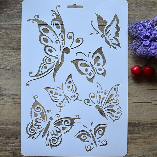 Butterflies Diy Masking Spray Stencil Layering Stencils Wall Painting Decorative Scrapbook Album Embossing Paper Cards