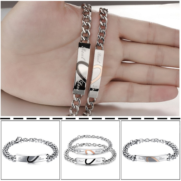 His&Her Heart-shape Puzzle Couple Bracelet Stainless Steel Silver Bangle FLF