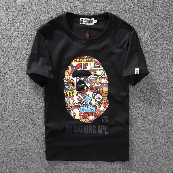0c8dabcd1 BY Bathing Ape Men's Playland Soft Cream Monkey Head T-Shirt Short ...