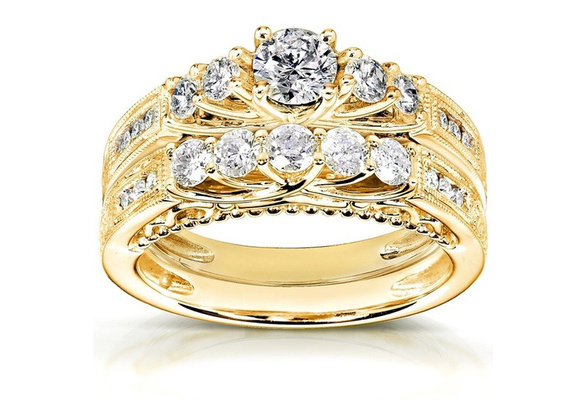 Women's Fashion Engagement Wedding White Sapphire 10KT Yellow Gold Filled Rings Set