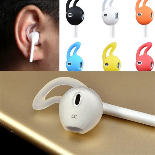 Picture of 1 Pair Earphone Cover Tips Hook For Earpods Airpods Anti-slip Soft Silicone Sleeve For Iphone Headphone