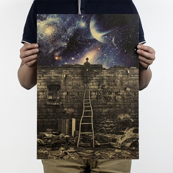Picture of Milky Way Galaxy The Beginning Is Near Kraft Paper Poster Wall Art