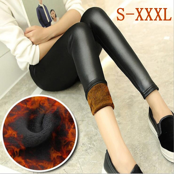 Women/'s Leggings Faux Leather Lined Leggings
