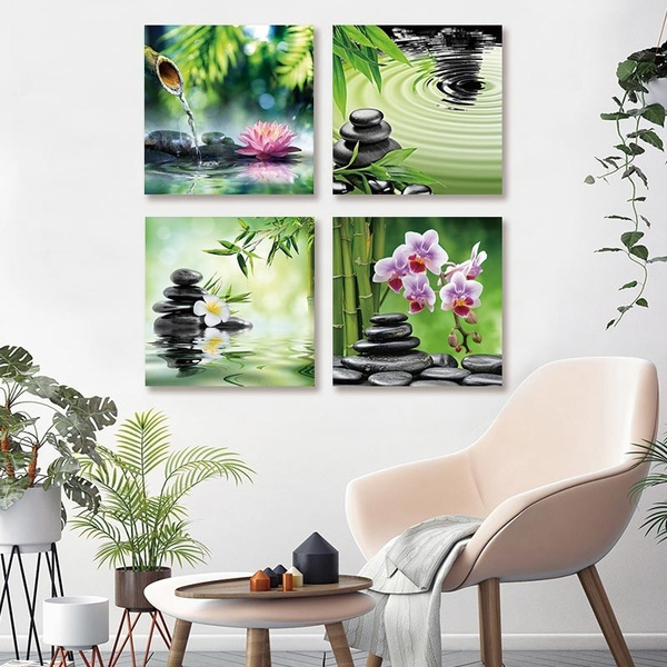 Wish | Modern Frameless Canvas Painting Wall Art Print 4 Pieces Zen ...