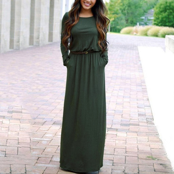 Wish | Boho Style Women Maxi Dress Long Sleeve Summer Beach Dress ...