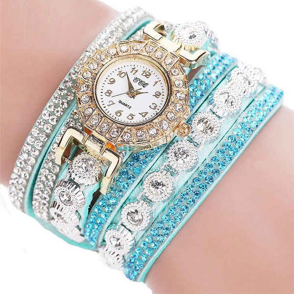 New Women Fashion Casual Analog Quartz Women Rhinestone Watch Bracelet Watch