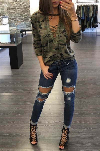 Sexy Front Lace-up Hollow Out Long Sleeve Camouflage T-shirt