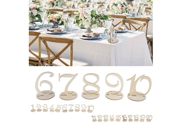 1-10/11-20 Wooden Table Numbers Set With Base Wedding Birthday Party Decor Gifts TAL