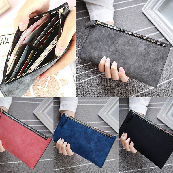 Picture of Vintage Women Purse Card Phone Storage Long Pu Leather Wallet Zip Handbag