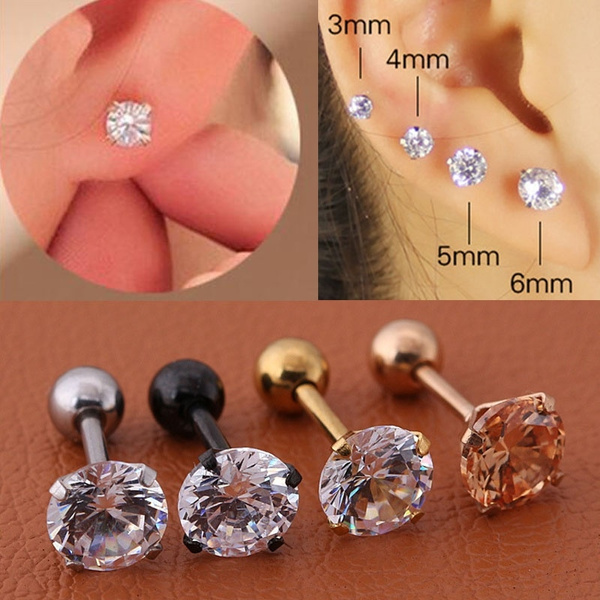Picture of Steel Barbell Zircon Cartilage Helix Tragus Lip Earring Stud