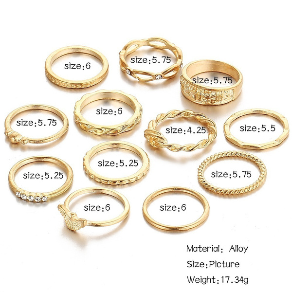 Wish | 12 Pc/set Charm Gold Midi Finger Ring Set Vintage Punk Boho Knuckle Party Rings Jewelry Christmas Gift