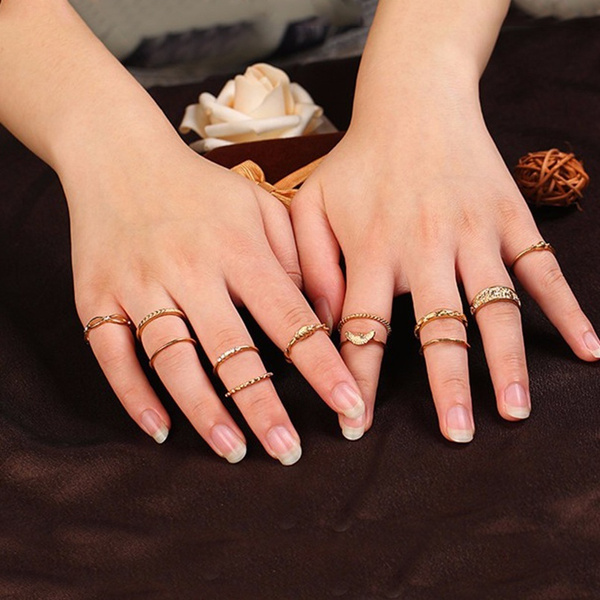 Cute | 12 Pc/set Charm Gold Midi Finger Ring Set Vintage Punk Boho Knuckle Party Rings Jewelry Christmas Gift