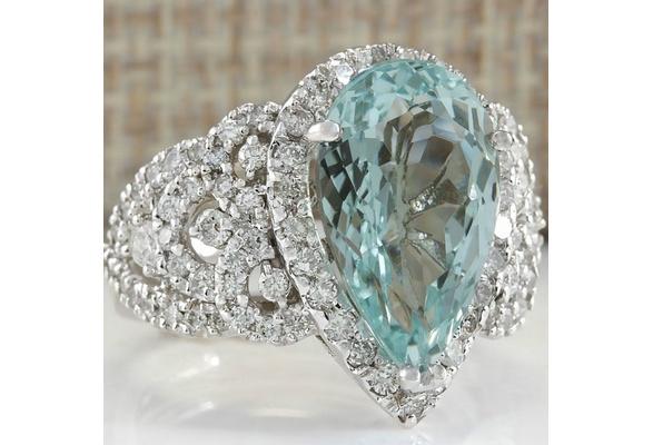 4.26CT Natural Aquamarine 925 Sterling Silver Wedding Ring Gifts