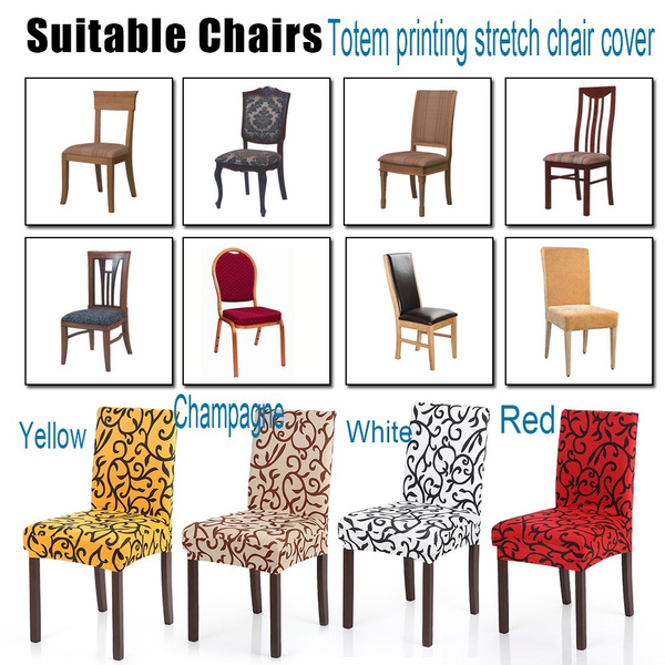 High Quality Removable Short Dining Chair Cover Soft Milk Silk Spandex Stretch Printing Slipcover Seat Covers Banquet Decoration
