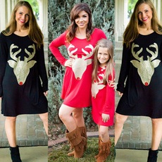 Fashion Autumn Winter Casual Christmas Deer Printing Long Sleeve Mother Daughter Dress Family Matching Cothes