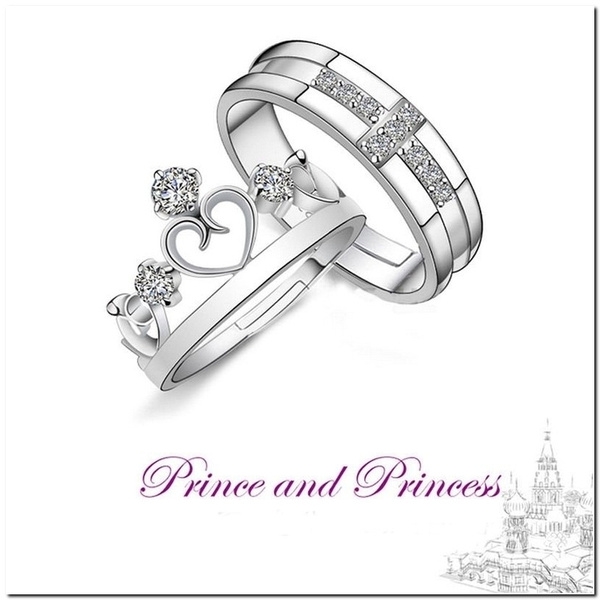 a7907eab8b31a 2pc/set Prince Princess Queen Silver Couple Rings Wedding Band His and Her  Promise Ring