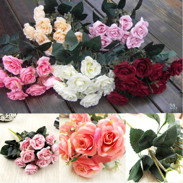 Picture of New 12head Artificial Fake Roses Silk Flower Bridal Bouquet Wedding Party Home Decoration