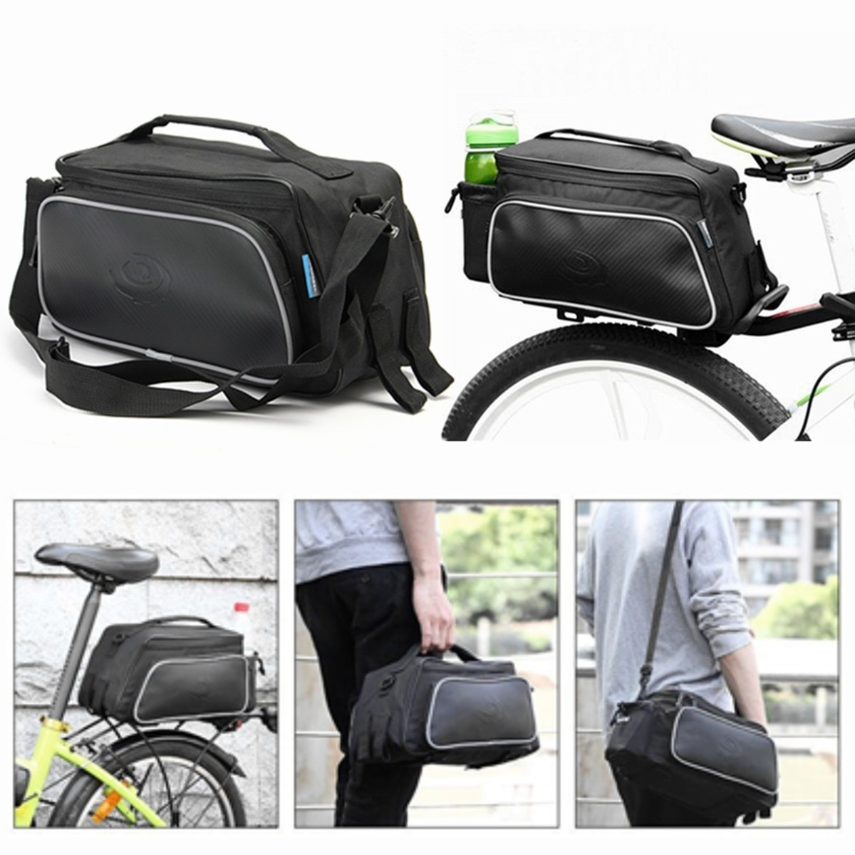Roswheel Bicycle Bike Rear Tail Seat Pannier Bag Pouch Trunk Rack Shoulder Black