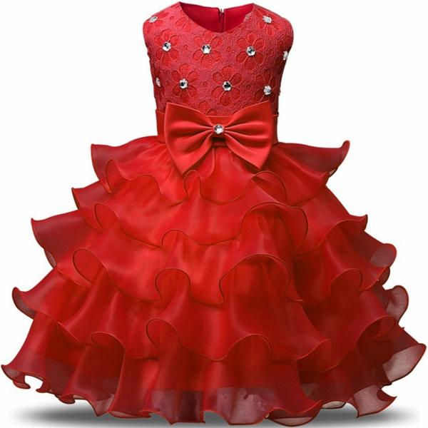 Red Dress Kids Children Girls Layered Vintage